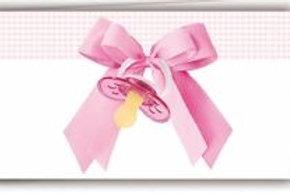 Biglietto ciuccio rosa