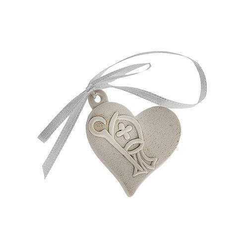 Appendino bianco cuore Maschio Femmina bomboniere Cresima cm. 4
