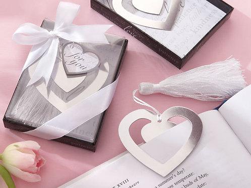 Segnalibro cuore con nappina e scatolina bianca