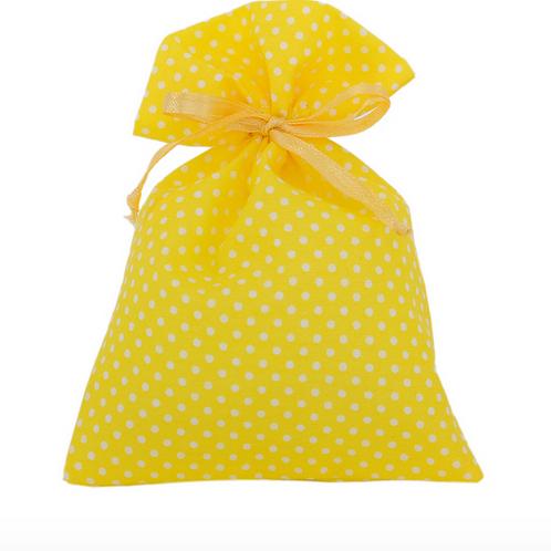 Sacchetto giallo a pois bianco