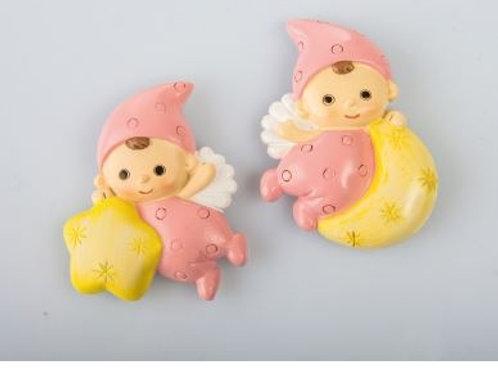 Baby Angelina rosa magnete 2 assortiti Bomboniere Nascita Battesimo