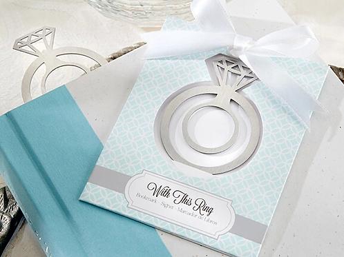 """Segnalibro """"The Ring"""" con nappina bianca e scatolina"""