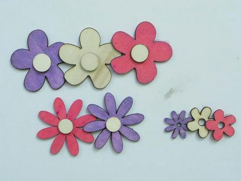 Decorazioni assortite fiori in legno
