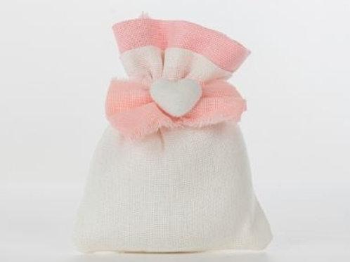 Sacchetto piatto fiocco rosa 10x14