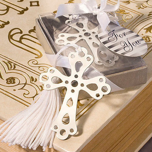 Segnalibro croce con nappina e scatolina bianca