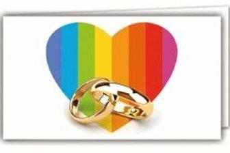 Biglietto matrimonio anelli pace