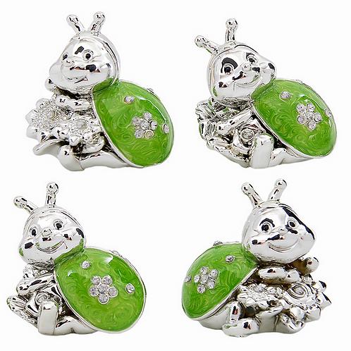 Coccinella Portafortuna argento e verde
