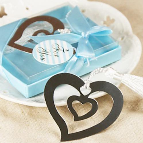 Segnalibro cuore con nappina e scatolina azzurra
