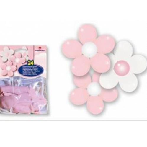 Palloncini gonfiabili rosa 24 pezzi per 4 fiori