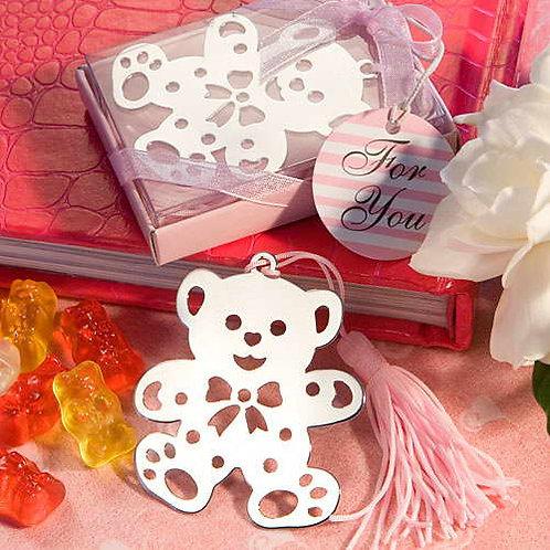 Segnalibro orsetto con nappina rosa e scatolina