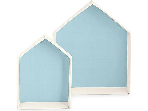 Vassoio porta sacchetti a forma di casa azzurro
