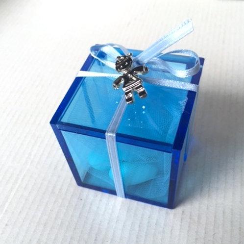 Scatolina azzurra spilla clip bimbo
