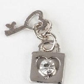 Charm pendente lucchetto e chiave silver