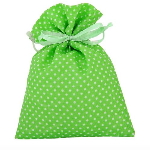 Sacchetto in stoffa a pois verde