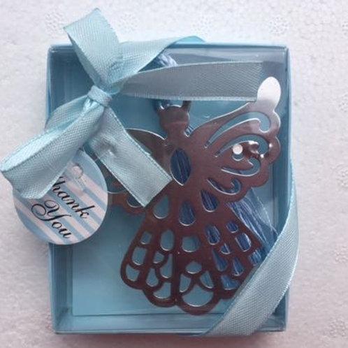 Segnalibro angelo con nappina e scatolina azzurra