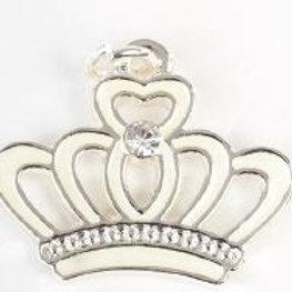 Charm pendente coroncina bianca silver