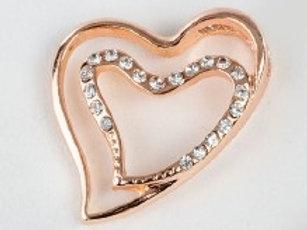 Charm pendente cuore doppio oro rosa