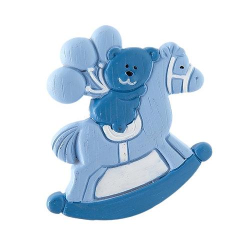 Magnete Cavalluccio Azzurro con Orsetto