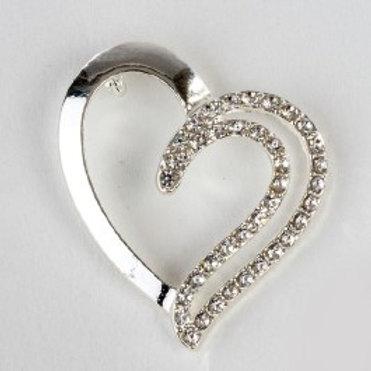 Charm pendente cuore doppio silver