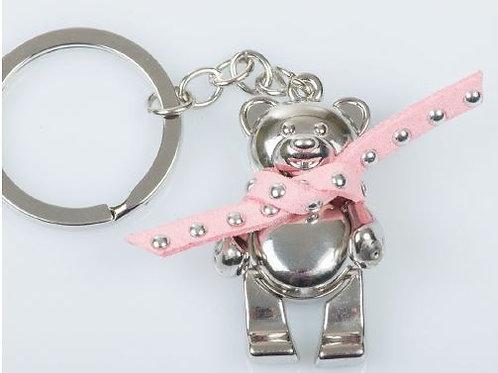 Portachiavi orso sciarpa rosa