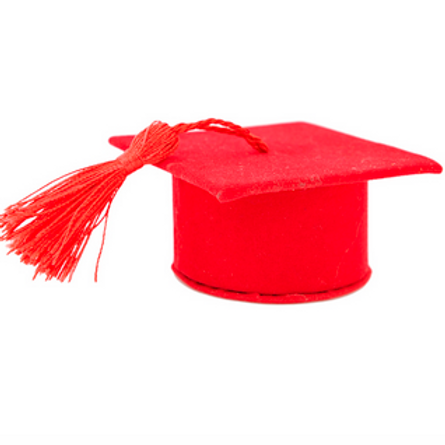 Cappello laurea rosso in velluto