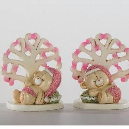 Orso e albero della vita femmina 2 assortiti bomboniere Nascita Battesimo