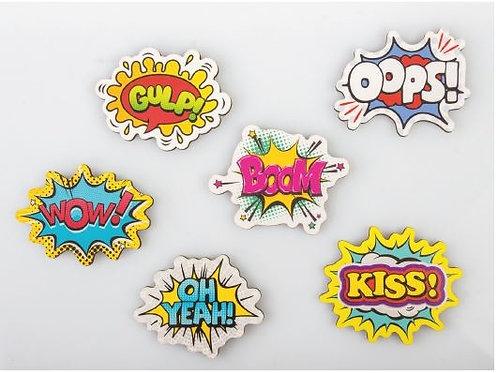 Magnete fumetti 6 assortiti bomboniere Cresima Comunione