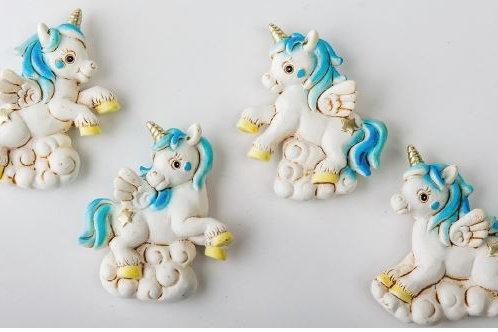 Unicorno magnete cielo 4 assortiti bomboniere Nascita Battesimo