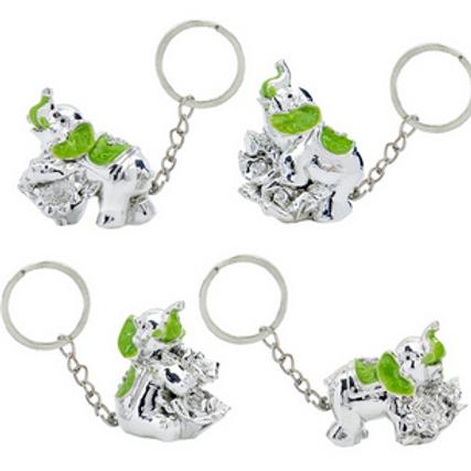 Portachiave Elefante Portafortuna argento e verde