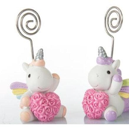 Unicorno rosa clip 8cm. 2 assortiti Bomboniere Nascita Battesimo