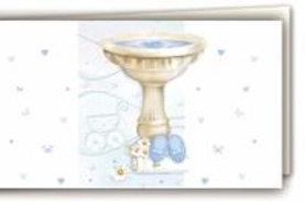 Biglietto fonte battesimale azzurro
