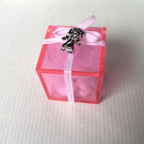 Scatolina rosa spilla clip bimba