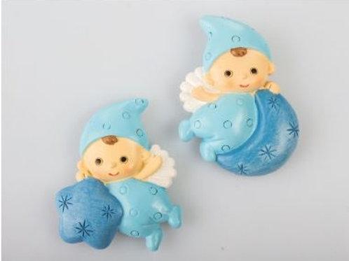 Baby Angelino blu magnete 2 assortiti Bomboniere Nascita Battesimo