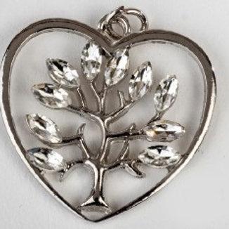 Charm pendente albero cuore silver