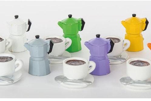 Mini caffettiere e tazze 12 assortiti bomboniere matrimonio