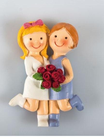 Coppia ragazze magnete bomboniere matrimonio