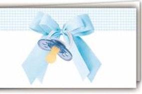 Biglietto ciuccio azzurro