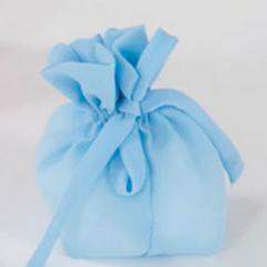 Sacchetto con fiocco Satin colore azzurro con tirante