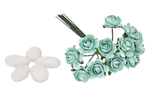 Confezione da 120 pz. decorazioni rosellina piccola tiffany