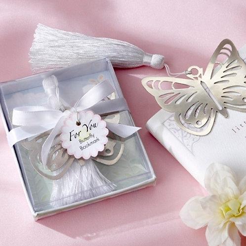 Segnalibro farfalla con nappina e scatolina bianca