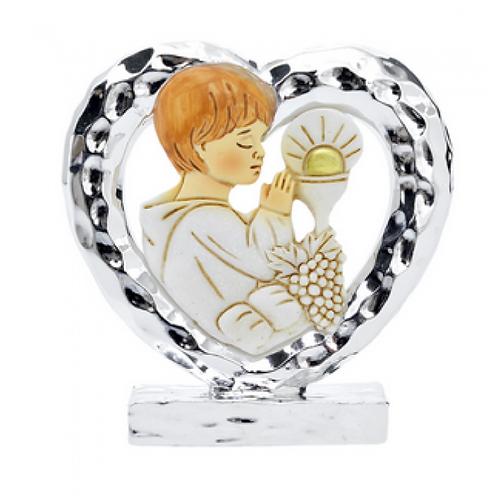 Cuore in silver calice bimbo Prima Comunione 6 cm