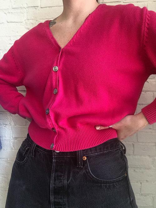 80's pink cardigan