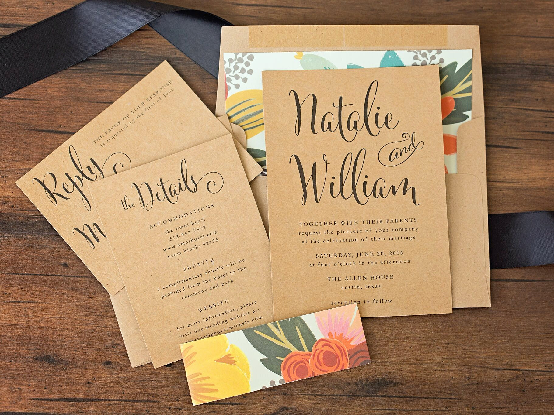 Wedding Invitation Card Paper: Mint & Floral Wedding Invitation