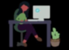 woman working on desktop office vector art illustration