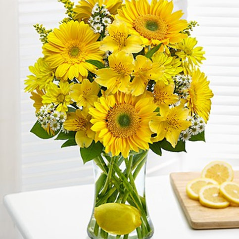 """ Lemon"" Sunflower Bouquet"