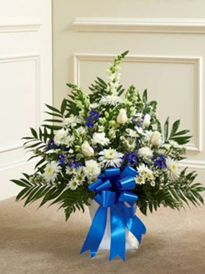 Blue & White- Sympathy Spray  Basket