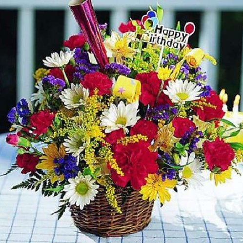 """Birthday Medley Basket"" Bouquet"