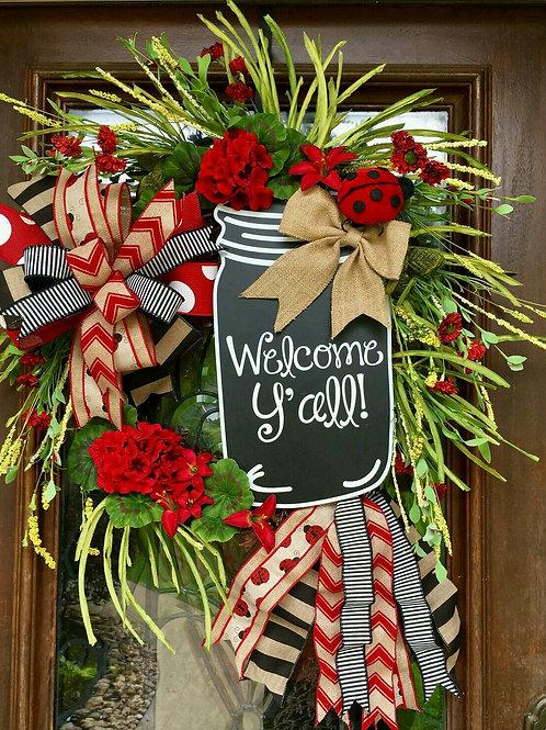 """""""Lady Bug Garden"""" Wreath"""
