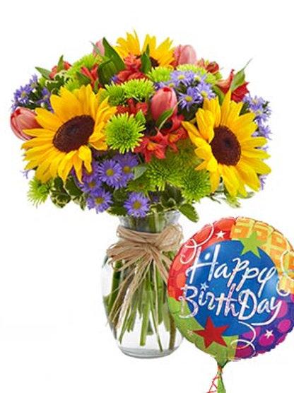 """""""Sunflower Birthday"""" Bouquet W/Balloon"""