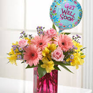 """Pink Potion"" Get Well Bouquet W/Balloon"